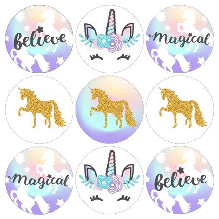 Unicorn Party Favor Stickers, 324 count - Magical Unicorn Birthday Party Supplies Rainbow Unicorn Candy Labels Unicorn Baby Shower Decorations - 324 Count Stickers - Ideas For Toddler Halloween Birthday Party