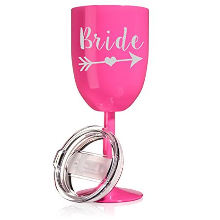 14 oz Double Wall Vacuum Insulated Stainless Steel Wine Tumbler Glass with Lid Wedding BRIDE Tribe (Hot Pink) - Pink Wine Glass