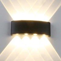 Yosoo LED Waterproof Wall Lamp, 8W 85V-265V Sconce Warm White  Aluminum Indoor Outdoor Wall Up Down Light for Outdoor Indoor Living Room Bedroom Door Garden