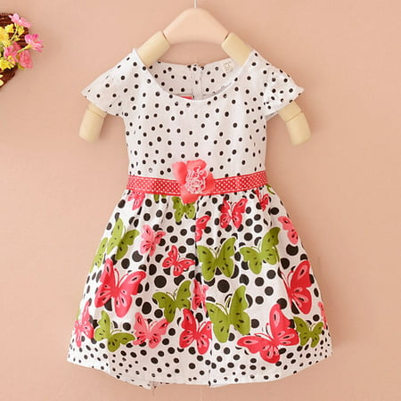 Kacakid Summer Baby Girls Kids Short Sleeve Dress Polka Dots Butterfly Princess One-piece Dresses