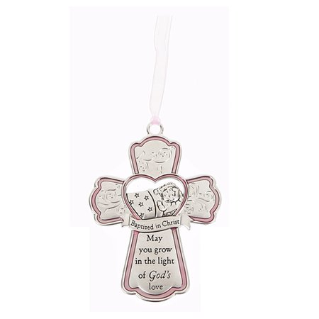 Baptized in Christ Hanging Cross Crib Ornament - By Ganz (Pink Ribbon) (Jesus Hanging)
