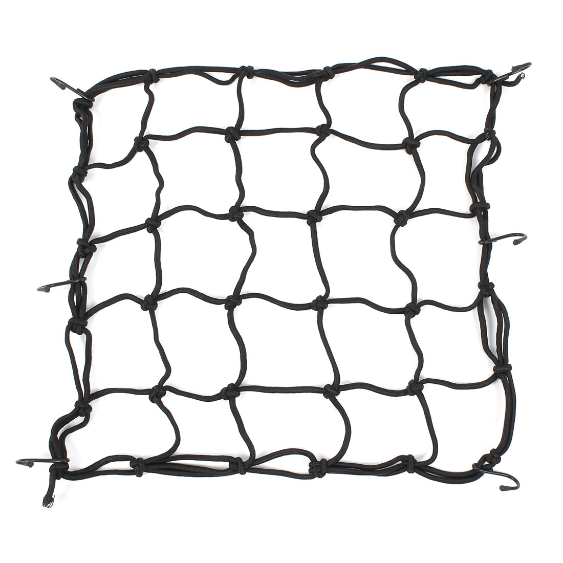 Black 6 Hooks Rear Helmet Elastic Cargo Nets Mesh 40x40cm for Motorcycle ATV