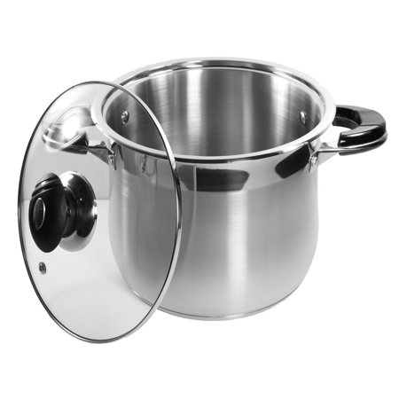 10 Qt Stock Pot 18/10 Stainless Steel Super Double Capsulated Bottom w/ Glass Li
