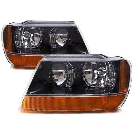 1999-2004 Jeep Grand Cherokee Laredo Headlights Set w/Xenon-Enhanced Halogen Bulbs CH2502121 & (Jeep Grand Cherokee Difference Between Laredo And Limited)