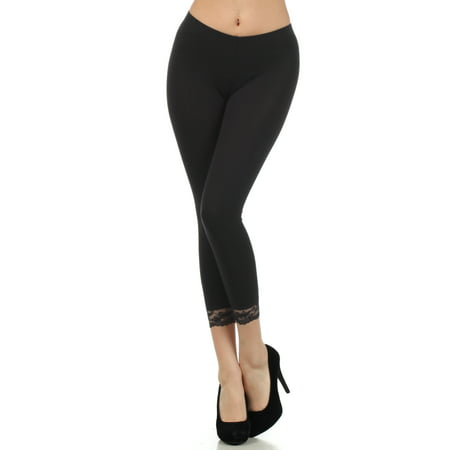 Sakkas Cotton Lycra Blend Lace Trim Stretch Capri Leggings - Made in USA - Black - Large