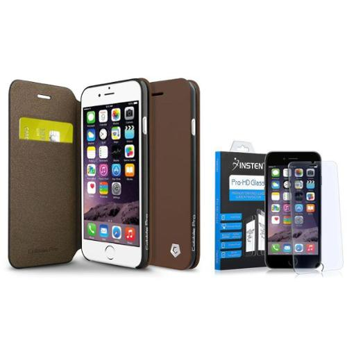 """Cobble Pro Brown Stand Leather Wallet Case + Tempered Glass Protector For iPhone 6 6s 4.7"""""""