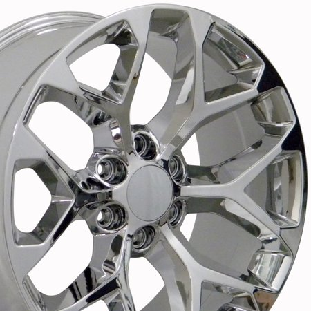 22 Inch Snowflake wheel | Fits Chevy Silverado Tahoe | GMC Sierra Yukon | Cadillac Escalade | CV98 Chrome 22x9 Rim Hollander (33 Inch Tires For 22 Inch Rims)