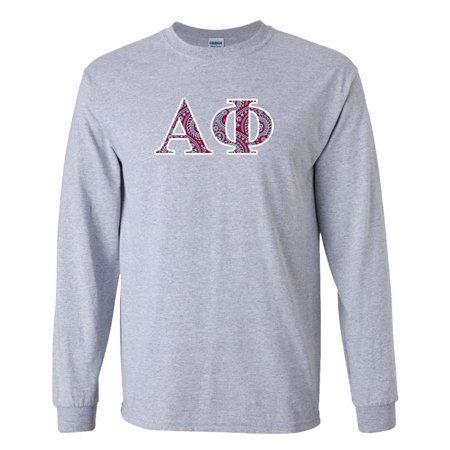 Alpha Phi Long Sleeve T-shirt Greek Letter Design – Sports Gray - Greek Goddess Clothing Styles
