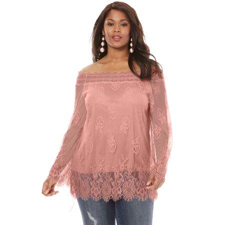 aad7f0367efe9 Roaman s - Plus Size Off-the-shoulder Lace Top - Walmart.com