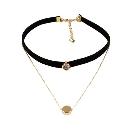 StylesILove Two Layers Leather Rhinestones Womens Fashion Collar Choker Necklace (Rock Rebel Gold Rhinestone)
