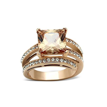 - Stainless Steel Rose Gold IP Champagne Color Square Cubic Zirconia Ring Sz 5-10