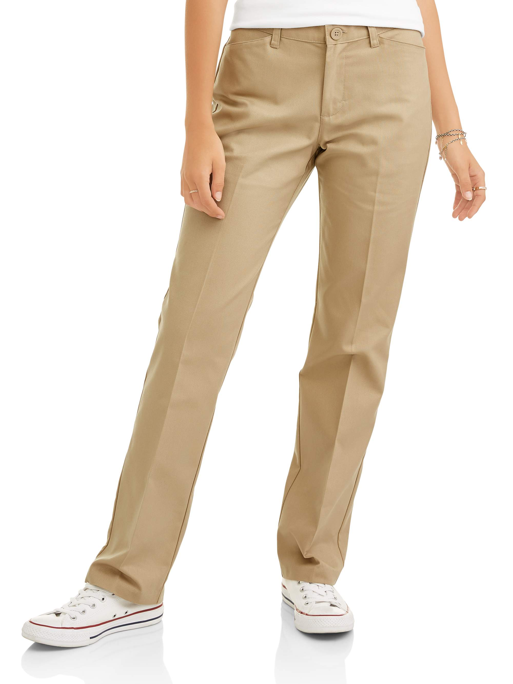 Juniors' Flat Front Low Rise School Uniform Pant