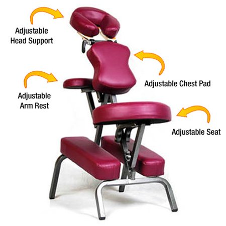 - Ataraxia Deluxe Portable Folding Massage Chair w/Carry Case & Strap - Burgundy