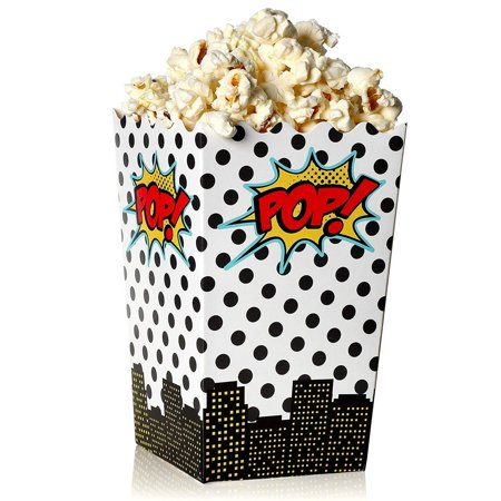 Movie Themed Birthday (Blue Panda 100-Count Superhero Comic Theme Mini Popcorn Party Favor Boxes - 3 x 5 Inch Snack Containers for Kids Birthday Parties and Movie)