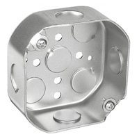 10 Pcs, .0625 Galvanized Steel 4 In. Octagon Box, 1-1/2 In. Deep, (4) 1/2In Side Knockouts & (5) 1/2In Bottom Knockouts For Ceiling & Wall Lighting Fixtures, Fans, Or Outlets & Device