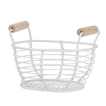 Stella Mini Oblong Wire Basket with Wood Handles - White - 4in (Mini Baskets)