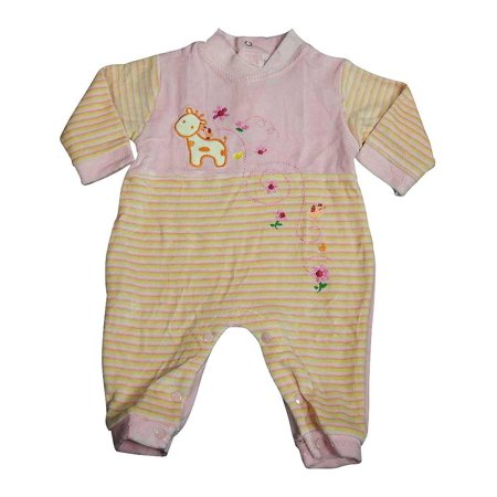 Beyond Basics Kids - Baby Girls Long Sleeved Velour Coverall Pink Stripe / 6 - 9 - Striped Velour Overalls