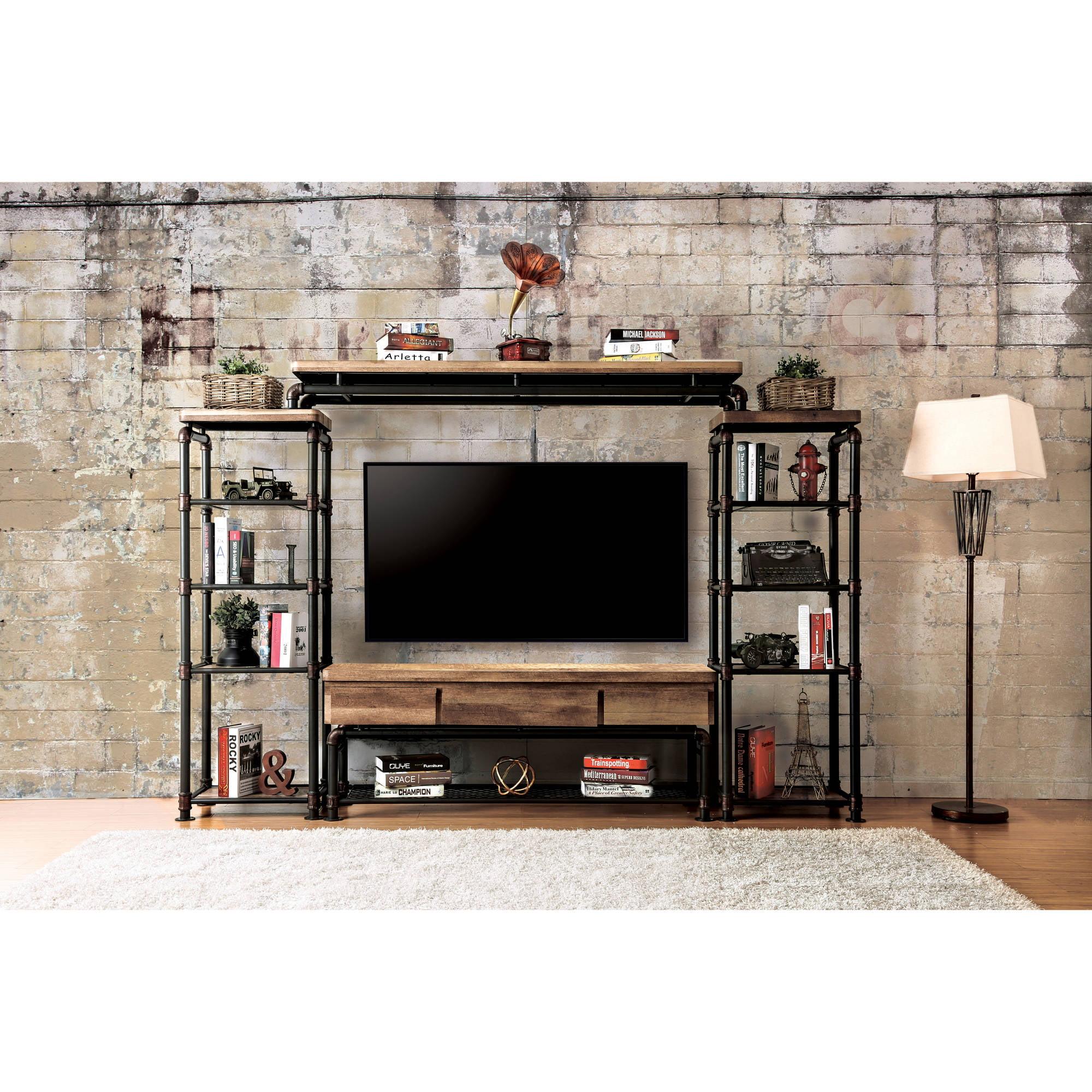 Furniture of America Velmer Industrial 4-Piece Entertainment Unit, Antique Black