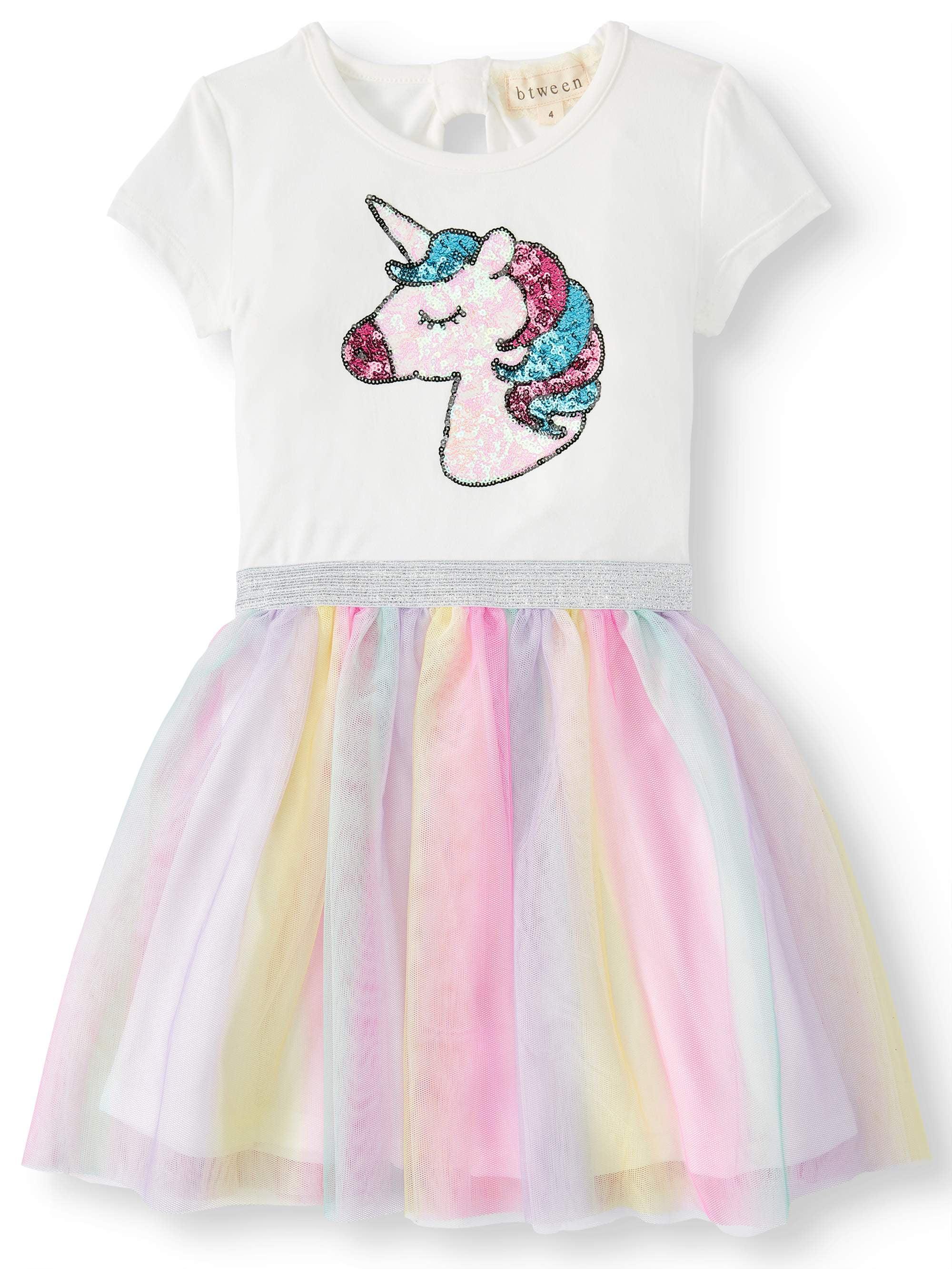 556a1777 Btween - Sequin Unicorn Rainbow Mesh Tutu Dress (Little Girls & Big Girls)  - Walmart.com