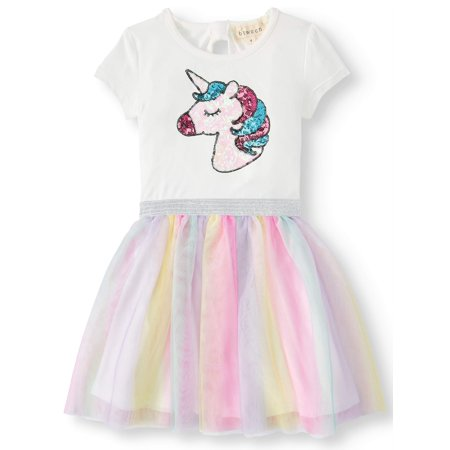 Sequin Unicorn Rainbow Mesh Tutu Dress (Little Girls & Big Girls)