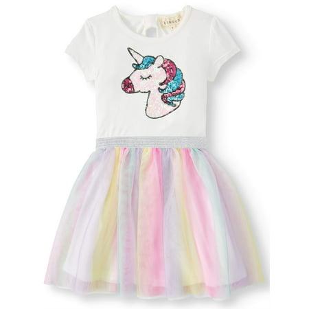 Sequin Unicorn Rainbow Mesh Tutu Dress (Little Girls & Big Girls) (Girls Dresses 7 8)