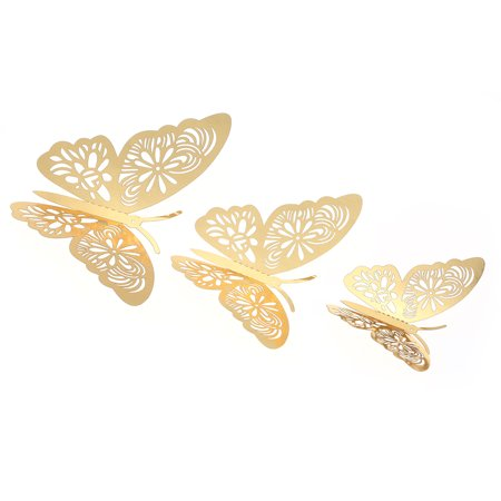 12pcs/set Vivid 3D Butterfly Wall Stickers Removable Mural Stickers DIY Art Wall Decals Decor with Glue for Bedroom Wedding Party--Gold - image 3 de 7
