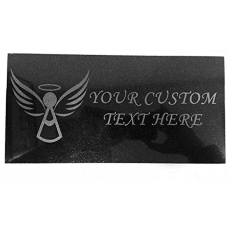 Customized 3D Laser Engraved Personalized Custom Black Granite Stone Memorial Marker 12 x 6 inches (Angel)