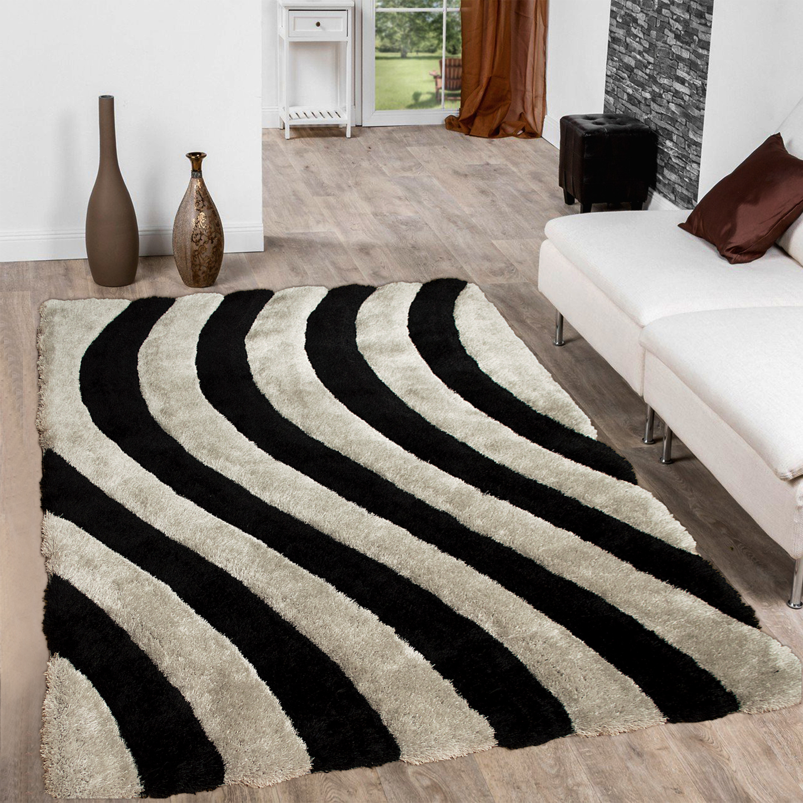 Allstar Grey Shaggy Area Rug with 3D Lines Design. Contemporary Formal Casual Hand Tufted (5' x 7')