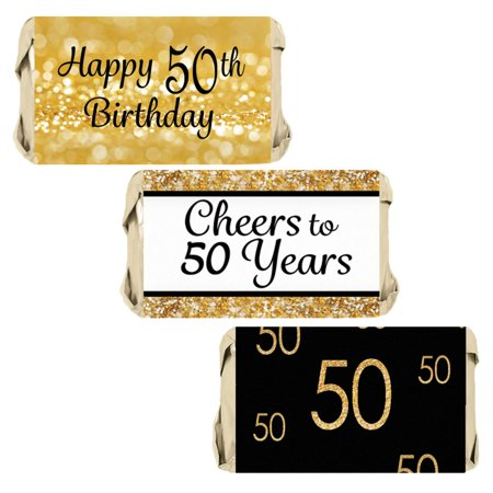 50th Birthday Candy Wrapper Stickers 54ct | Black and Gold Party Favor Decoration Labels