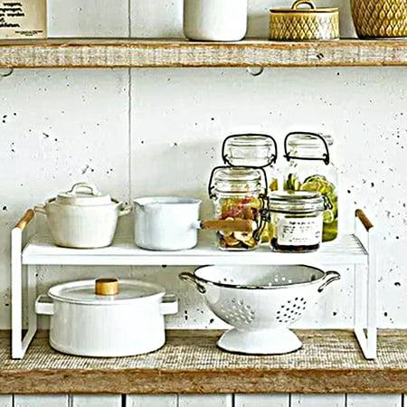 Storage Shelf Organizer Expandable Stackable Kitchen Cabinet And Counter Shelf Organizer Wooden Handle Multifunctional Organization Rack Size S Walmart Canada