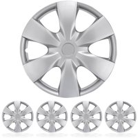 "BDK Hubcaps 15"" 4 Pieces, Silver, Toyota Yaris Style Replacement"