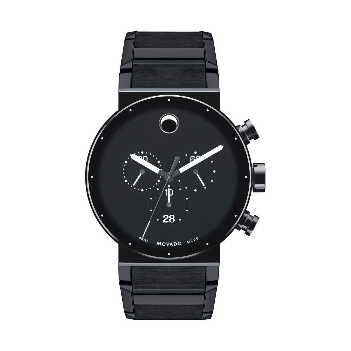 Movado Sapphire Synergy Black Chronograph Men's Watch, 0606801