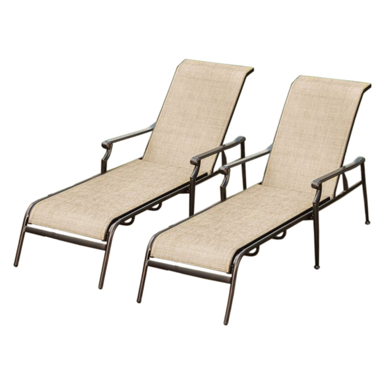 Oakland Living Bali Sling Aluminum Poolside Reclining Chaise Lounge - Set of 2