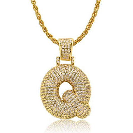 City Necklaces (Iced Out Bubble Letters Pendant Necklace Gold-Plated Cubic Zirconia Hip Hip Bling Jewelry 60cm Chain)