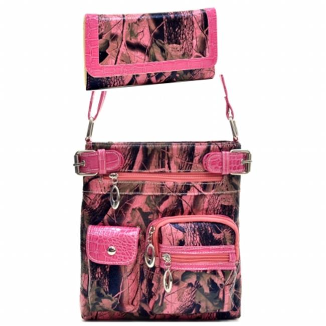 Ritz Enterprises MS102SET-PK Western Camouflage Crossbody Messenger Bag Purse With Matching Wallet - Pink