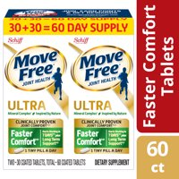 Move Free Ultra Faster Comfort with Comfort Max (Twin Pack - 60 Tablets) Calcium and Calcium Fructoborate Based Ultra Faster Comfort Joint Health Supplement Tablets