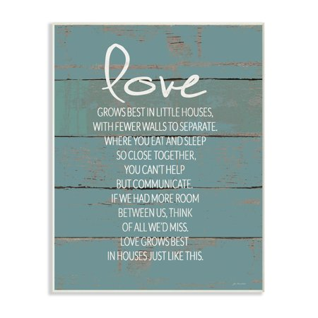 The Stupell Home Decor Collection Love Grows Best in Little Houses Teal Shiplap Wall Plaque Art, 10 x 0.5 x