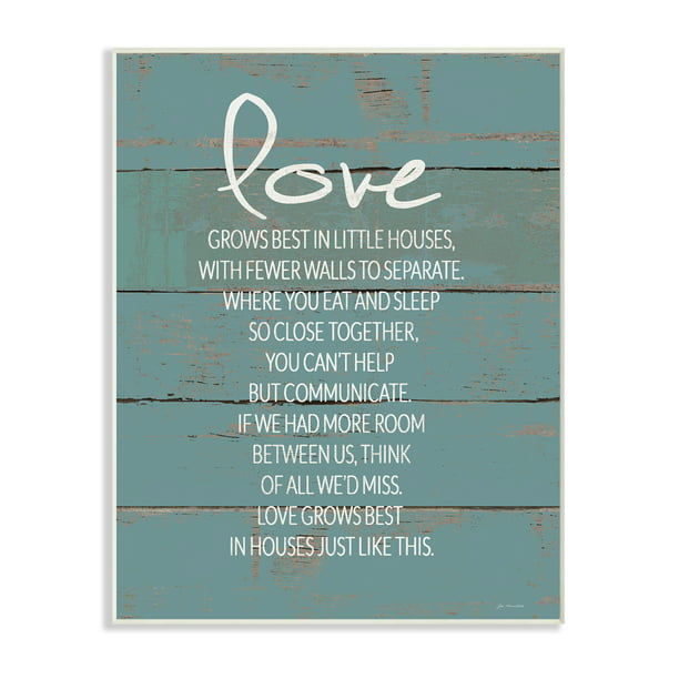 The Stupell Home Decor Collection Love Grows Best in Little Houses Teal Shiplap Wall Plaque Art, 10 x 0.5 x 15