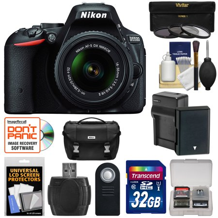 Nikon D5500 Wi-Fi Digital SLR Camera & 18-55mm VR DX Lens (Black) - Factory Refurbished with 32GB Card + Battery + Charger + Case + 3 UV/CPL/ND8 Filters + Kit