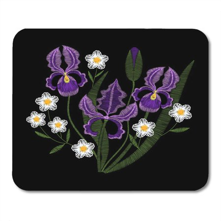 KDAGR Blue Beautiful Iris Flowers with Chamomile Embroidery Violet Spring Purple Wildflowers on Black Green Mousepad Mouse Pad Mouse Mat 9x10 inch
