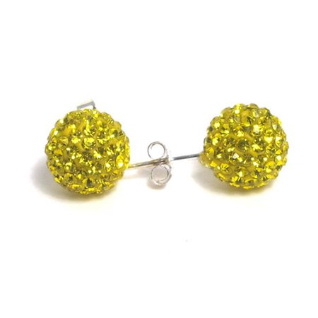 Dlux Jewels Sterling Silver Yello with Crystal 8 mm Post Earrings - image 1 of 1