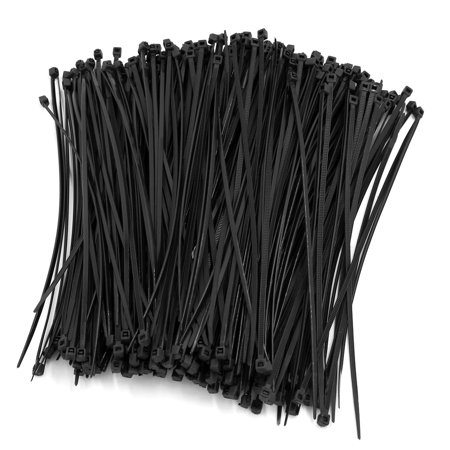Unique Bargains 500 Pcs 193mm Long 3mm Wide Black Nylon Fastener Cable Tie Wire Zip Cord Strap