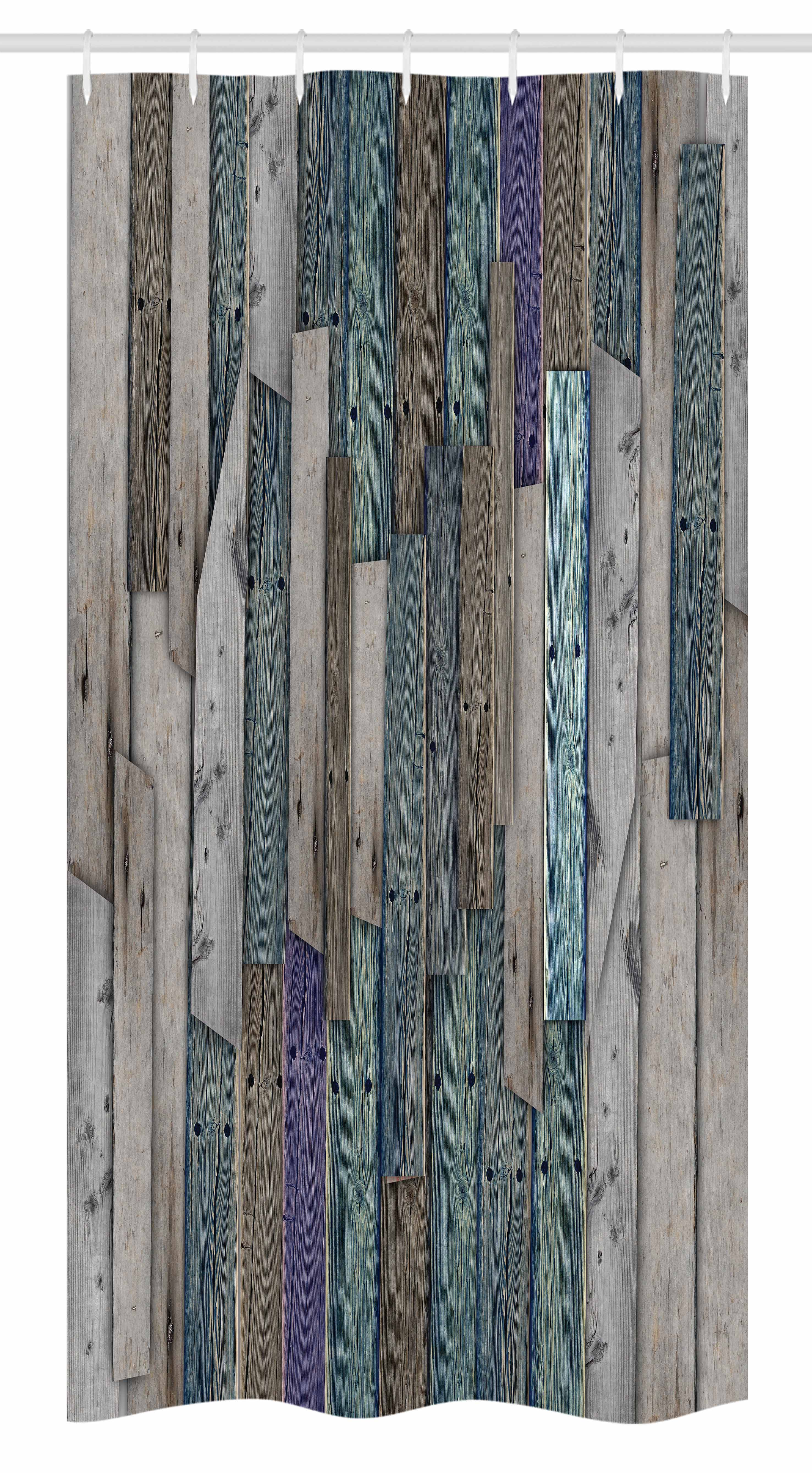 Wooden Stall Shower Curtain Blue Grey Grunge Rustic Planks Barn House Wood And Nails Lodge Hardwood Graphic Print Fabric Bathroom Set With Hooks