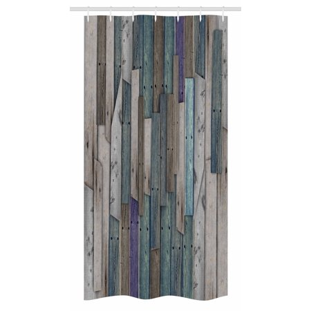 Wooden Stall Shower Curtain Blue Grey Grunge Rustic Planks Barn House Wood And Nails Lodge Hardwood