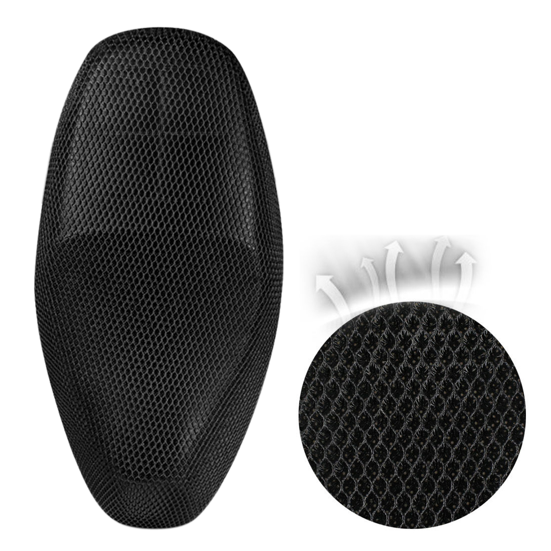 L Black Universal Motorcycle Soft Net Mesh Seat Full Cover Breathable Cushion - image 1 of 5