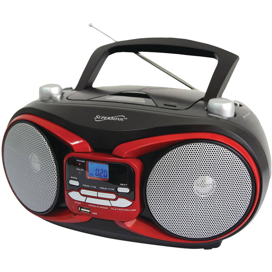 SuperSonic SC-504 Portable MP3 and CD Player with AM/FM Radio, Red