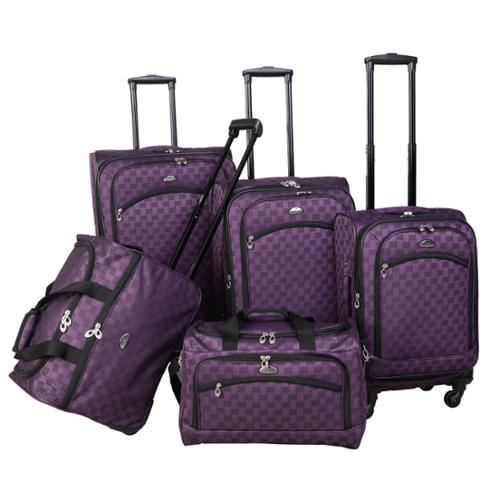 American Flyer Madrid 5-piece Expandable Spinner Luggage Set Purple