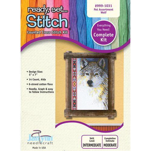 Janlynn Wolf Xstitch Kit, 5x7