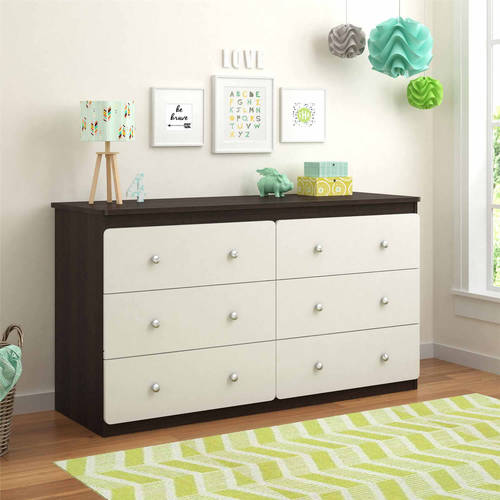 Cosco Willow Lake 6-Drawer Dresser, Coffee House Plank/White