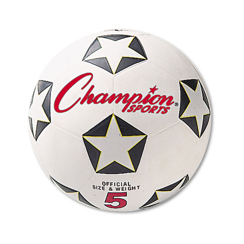 Champion Sports Rubber Sports Ball, For Soccer, No. 5, White Black by Champion Sports
